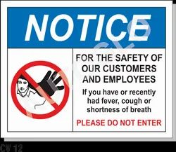 Corona Virus Signage: Notice For The Safety Of Our Customers And Employee