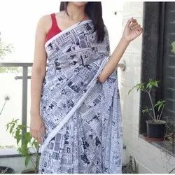 Casual Wear Printed Cotton Saree, With blouse piece, 5.5 m (separate blouse piece)