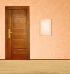Brown Wooden Finish Steel Door, Single, Thickness: 45 Mm