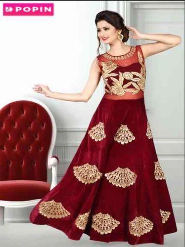 Marun Velvet Heavy Work Gown Rental Service at Rs 3600 /piece | Work ...