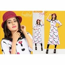 Anarkali Fancy Rayon Printed Kurti