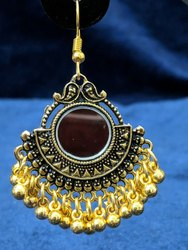 Black Oxidized Mirror Golden Jhumka