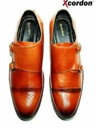 Xcordon Brown, Black Double Monk Strap Shoes