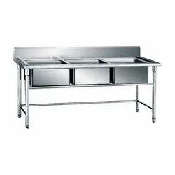 RBJ Stainless Steel 3 Sink Unit