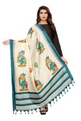 Khadi Cotton Silk Printed Dupatta with Tessels