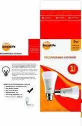SURYALIFE Aluminum Ac Dc Rechargeable Led Bulb 9w, 6 W - 10 W