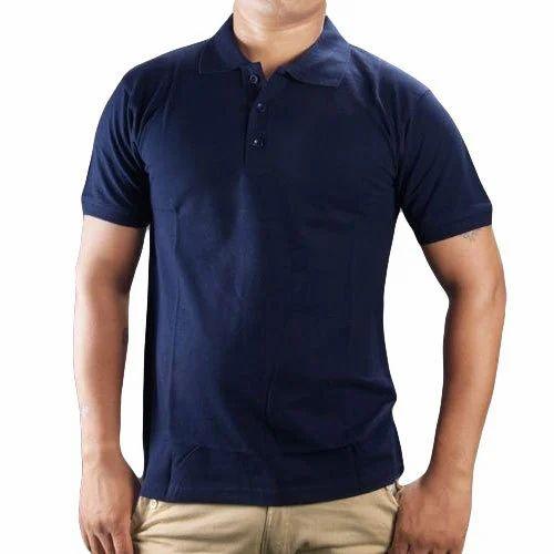 Men's Collar T-Shirt - Men's Navy Blue Collar T-Shirt