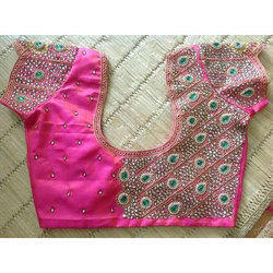 Red Golden Silk Full Stone Work Blouse Rs 7000 Piece