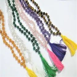 108 Bead Long Jaap Mala Natural Stone Bead Jap Hand Knotted Necklace With Tassel