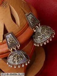 Germen Silver Double Tone Jhumki/Earrings
