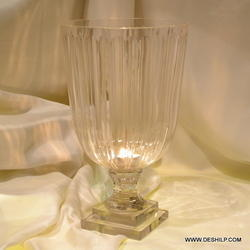Cut Glass Pillar Candle Holder