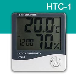Hygrometer, HTC-1,Temp Humidity Clock Meter