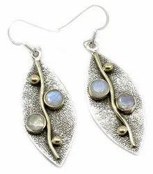 Sterling Silver Rainbow Moonstone Earrings