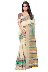 Mirchi Fashion Cream N Multicolor Bhagalpuri Silk Casual Saree