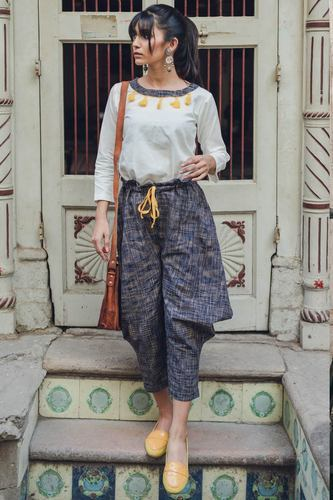 0192305f1ea8 Brown And Rust Baggy Style Khadi Western Wear Top Bottom Set, Rs ...