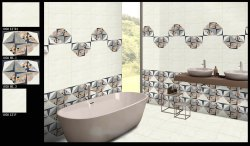 12x18 Inch Glossy Designer Bathroom Wall Tiles