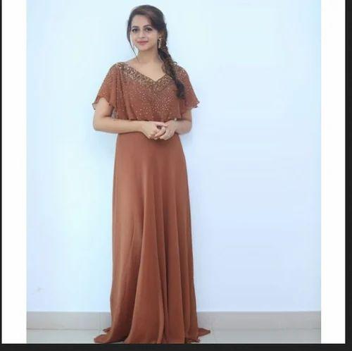 bab6b5d0d34b Gowns - Rajisha Vijayan In A Blue Gown With Floral Work Manufacturer ...