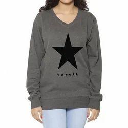 Clifton Womens Printed Cotton V-Neck-Black Star Sweat Shirt