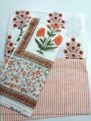 Block Printed Cotton Suit Set Top Bottom Dupatta