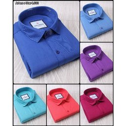 Luis London Collar Neck Mens Plain Cotton Formal Wear Shirts, Handwash