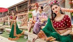 Saroj Stylish Fancy Green  Party Wear Sarees