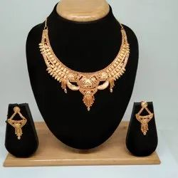 Golden 18k Simple Design Forming Gold Necklace Set For Women