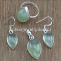 Aquamarine Gemstone Unique Jewelry 925 Sterling Silver Set