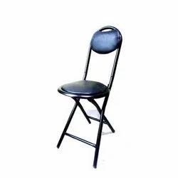 Black Mild Steel Folding Chair Round 18