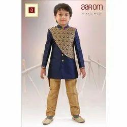 Party Wear Banarasi Silk Kids Designer Indo Western Sherwani with Pant Set, Age: 1-10 Years