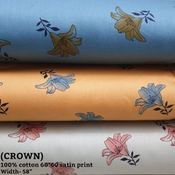 100% Cotton Satin Printed Shirting Fabric (Crown)