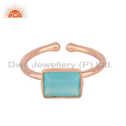 Aqua Chalcedony Gemstone Rose Gold Plated Silver Adjustable Rings