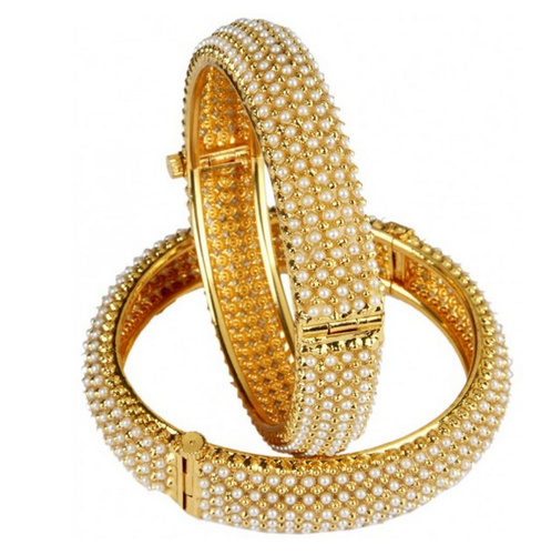 0c665c541cd00 White Pearl Gold Bangles - View Specifications & Details of White ...