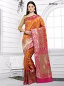 Orange Pure Silk Sarees
