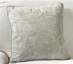 16 X 16 Inch Grey Morn Paisley Uni Embroidery Cushion Cover