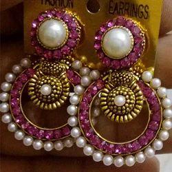 Pink Party Wear Earring