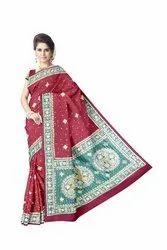 Diamond And Thread Work Design Gaji Silk Bandhani Saree