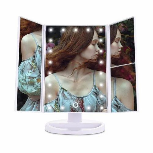 Magnifying Countertop Makeup Vanity Mirror With 21 Led Lights With Touch Screen Slide Mirror