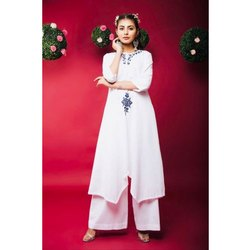 Asymmetric Embroidered Kurta With Palazzo