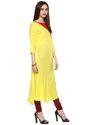 Floor Length Yellow Rayon Designer Kurta