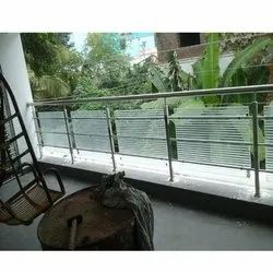 D Bracket SS Glass Railing