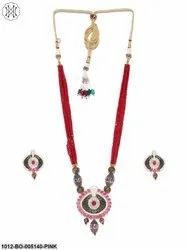 Priyaasi Maroon Embellished Long Haram Beaded Jewellery Set