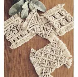 Handmade Macrame Cotton Coaster Boho Table Decor 7.8x7.8 Inchs Natural White Color