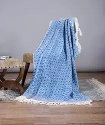 Jaipuri Blue & White Block Printed 100% Cotton Throws