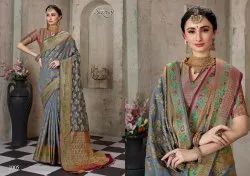 Ethnic Grey Color Cotton Silk Saree
