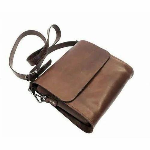 Brown Leather Men Sling Side Bag Rs