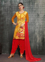 Foil Printed Fancy Rayon Punjabi Suits