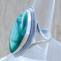 Malachite Gemstone 925 Sterling Solid Silver Jewelry Ring