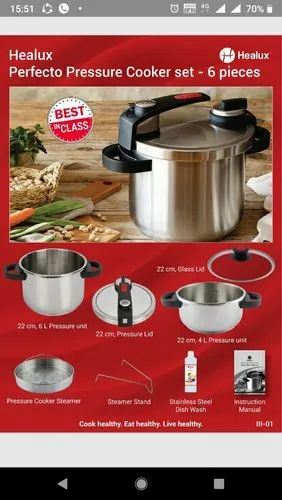 High grade 304 Stainless Steel Perfecto Pressure Cooker, For Home, Size: 6 Liter And 4 Liter