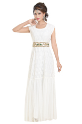 Sequins Bling Hand Embroidered Fustan Maxi Dress, Size: XS to 5XL