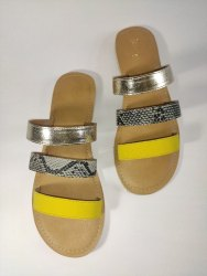 Casual Wear Slip On Ladies Tri-strap yellow flats, Nothing, Size: 36-41